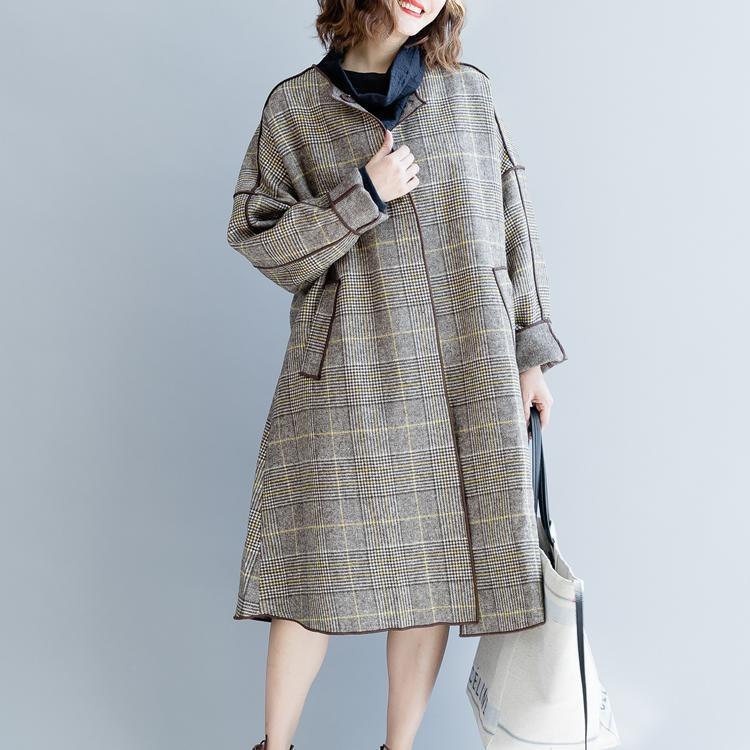 women plaid  Wool Coat plus size clothing patchwork trench coat 2018 o neck wool jackets
