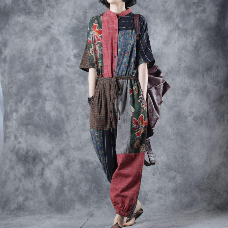 women prints patchwork linen short sleeve casual drawstring wide leg pants