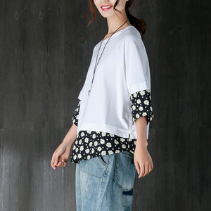 women pure cotton tops oversized Women Casual Summer Fake Two-piece Flower White Tops