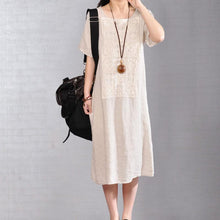 Load image into Gallery viewer, women pure linen dress plus size Women Short Sleeve Embroidery Pure Beige Flax Dress