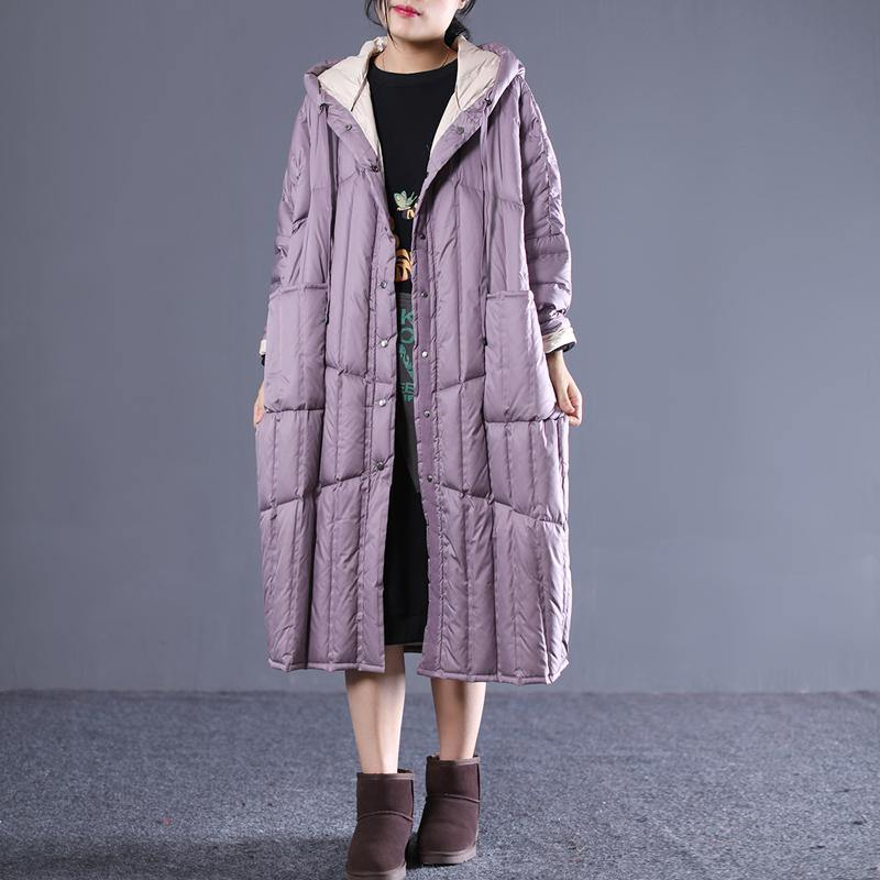 women purple down overcoat plus size clothing hooded drawstring down jacket Luxury pockets long down coats