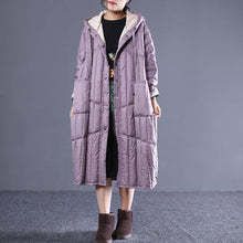 Load image into Gallery viewer, women purple down overcoat plus size clothing hooded drawstring down jacket Luxury pockets long down coats