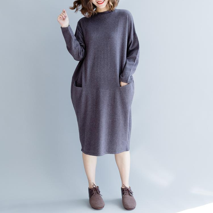 women purple gray sweaters trendy plus size patchwork sweater Elegant o neck fall dresses
