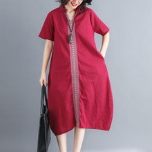Load image into Gallery viewer, women red cotton linen dresses plus size v neck pockets cotton linen maxi dress Fine short sleeve embroideried fabric maxi dresses