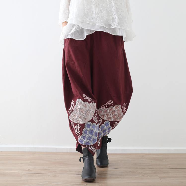 women red embroidery cotton linen pants loose vintage casual wide leg pants