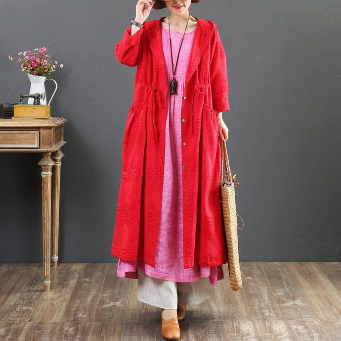 women red hooded coat for woman plus size  fall trench coats drawstring