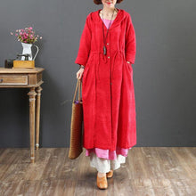 Laden Sie das Bild in den Galerie-Viewer, women red hooded coat for woman plus size  fall trench coats drawstring