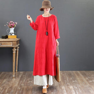 women red natural cotton dress  oversized o neck traveling dress casual long sleeve gown