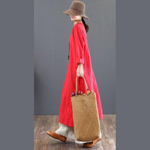 Load image into Gallery viewer, women red natural cotton dress  oversized o neck traveling dress casual long sleeve gown