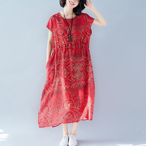 women red print long cotton linen dress casual O neck tie waist cotton linen clothing dress Elegant short sleeve baggy dresses