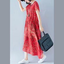 Load image into Gallery viewer, women red print long cotton linen dress casual O neck tie waist cotton linen clothing dress Elegant short sleeve baggy dresses