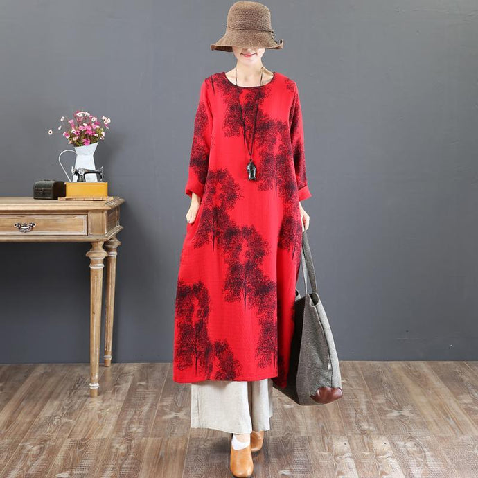 women red prints natural cotton dress  plus size o neck cotton clothing dresses vintage long sleeve kaftans