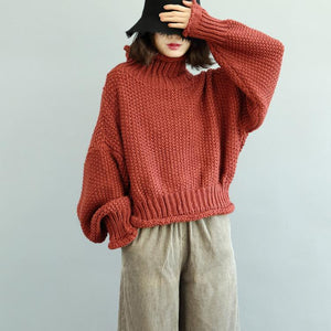 women red sweaters Loose fitting high neck knitted blouses casual fall blouse