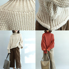 Load image into Gallery viewer, women red sweaters Loose fitting high neck knitted blouses casual fall blouse