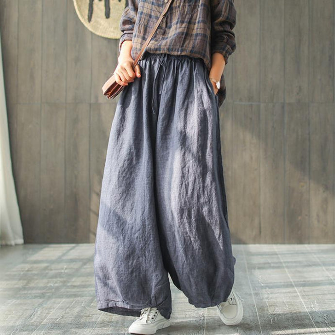 women summer casual Linen Casual Wide Leg Pants