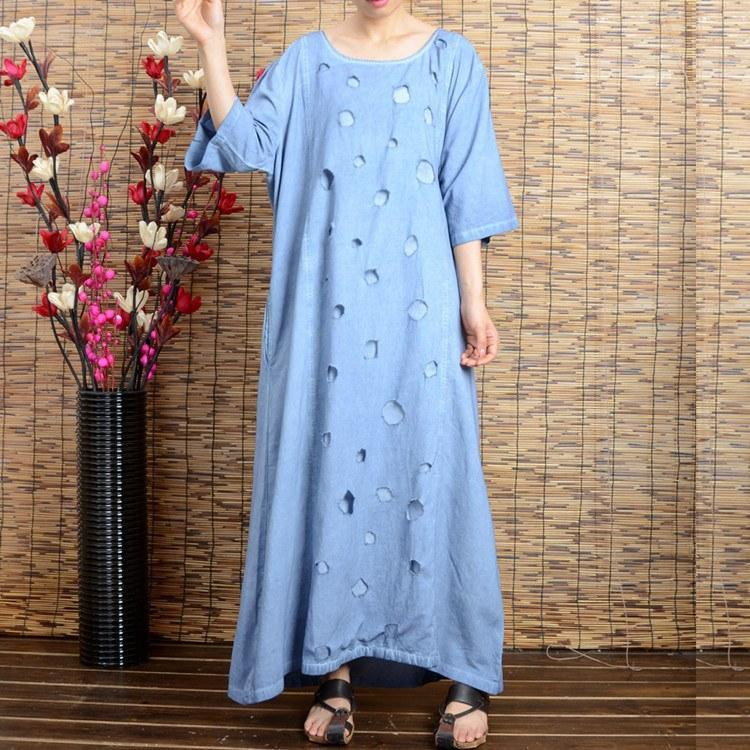 Women summer short sleeve cotton linen dress