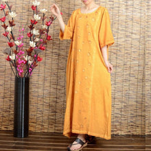 Load image into Gallery viewer, Women summer short sleeve cotton linen dress