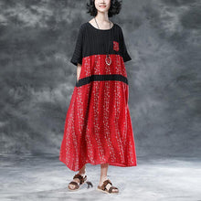 Load image into Gallery viewer, women traveling dress plus size Floral Casual Pockets Summer Short Sleeve Red Dress