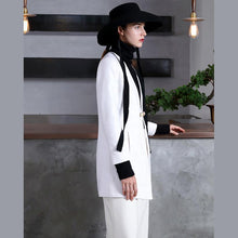 Load image into Gallery viewer, women white Woolen Coats Women plus size tops V neck women coats tie waist tunic