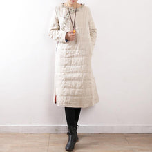 Load image into Gallery viewer, women white oversized o neck side open down overcoat thick Chinese Button thick winter outwear