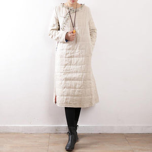 women white oversized o neck side open down overcoat thick Chinese Button thick winter outwear