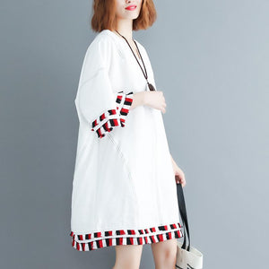 women white pure cotton blended dresses oversized traveling clothing Fine half sleeve v neck baggy dresses cotton blended clothing dress