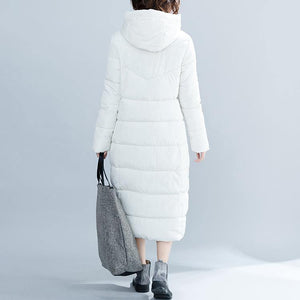 women white trendy plus size hooded cotton coat Elegant pockets zippered winter cotton coats