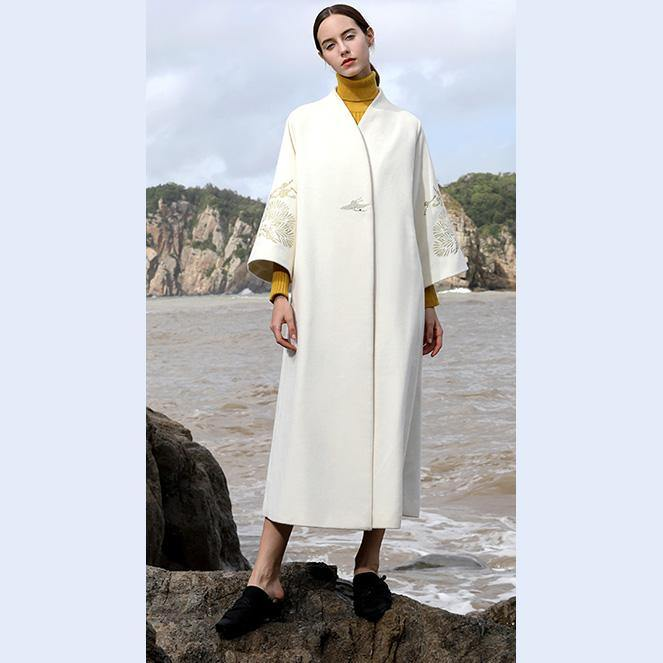 women white woolen coats plus size long coats V neck back side open embroidery flare sleeve  woolen outwear