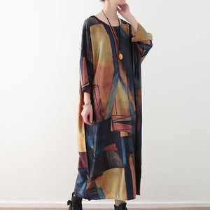 women yellow blue prints chiffon caftans Loose fitting o neck traveling clothing New half sleeve chiffon caftans