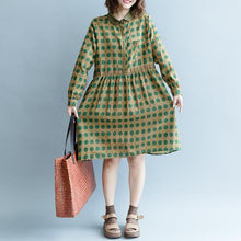Load image into Gallery viewer, women yellow dotted pure cotton linen dress trendy plus size fall dresses long sleeve pockets top quality Peter pan Collar baggy dresses