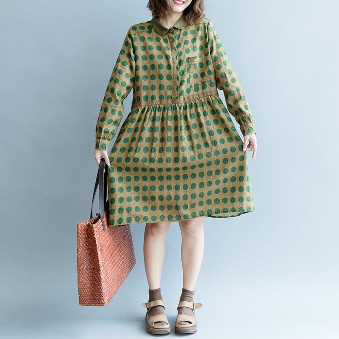 women yellow dotted pure cotton linen dress trendy plus size fall dresses long sleeve pockets top quality Peter pan Collar baggy dresses
