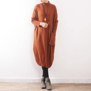 women yellow knit dress Loose fitting high neck pullover sweater Elegant pockets asymmetric winter dresses