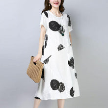Load image into Gallery viewer, women Midi-length cotton dress trendy plus size Casual Short Sleeve Round Neck Printed White Dress