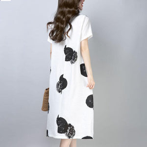 women Midi-length cotton dress trendy plus size Casual Short Sleeve Round Neck Printed White Dress