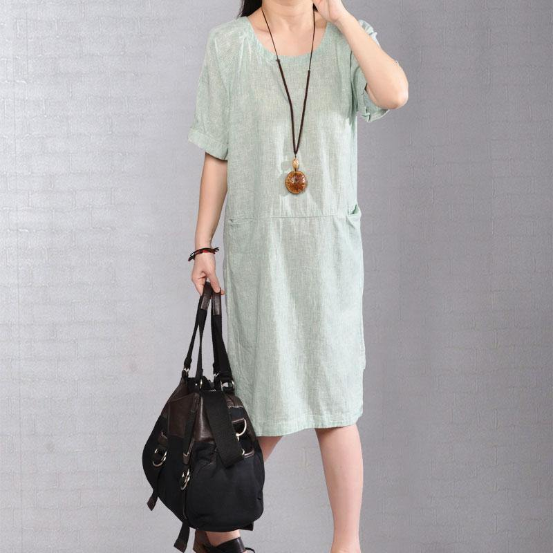 women Midi cotton dresses plus size clothing Casual Stripe Summer Short Sleeve Light Green Dress