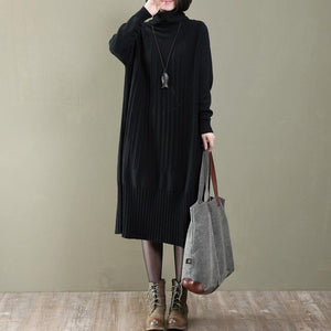 women black long knit dress trendy plus size turtle neck spring dresses casual pullover sweater
