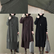 Load image into Gallery viewer, women black long knit dress trendy plus size turtle neck spring dresses casual pullover sweater
