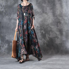 Load image into Gallery viewer, women black silk maxi dress oversized prints traveling clothing New big hem  caftans