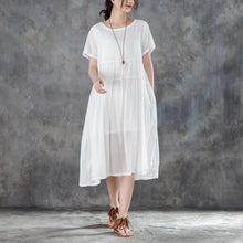 Load image into Gallery viewer, women cotton dresses plus size clothing Casual Summer Round Neck Short Sleeve White Dress