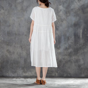 women cotton dresses plus size clothing Casual Summer Round Neck Short Sleeve White Dress