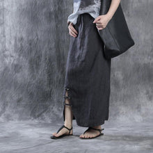 Load image into Gallery viewer, women dark gray striped linen skirts casual fashion side open maxi skirt