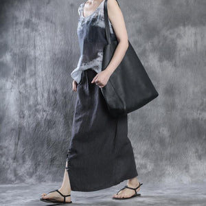 women dark gray striped linen skirts casual fashion side open maxi skirt