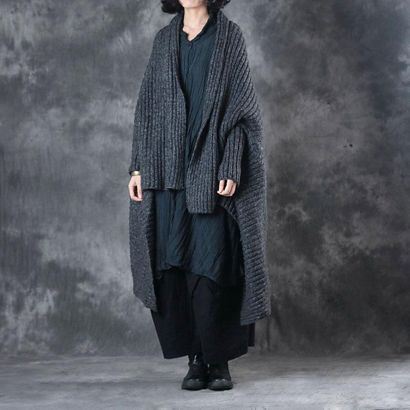 women dark gray sweater Loose fitting batwing sleeve vintage knitted tops