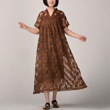 Load image into Gallery viewer, women dark khaki long silk linen dresses plus size embroidery traveling dress and sleeveless dresses boutique two pieces