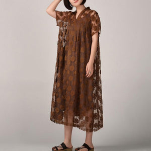 women dark khaki long silk linen dresses plus size embroidery traveling dress and sleeveless dresses boutique two pieces