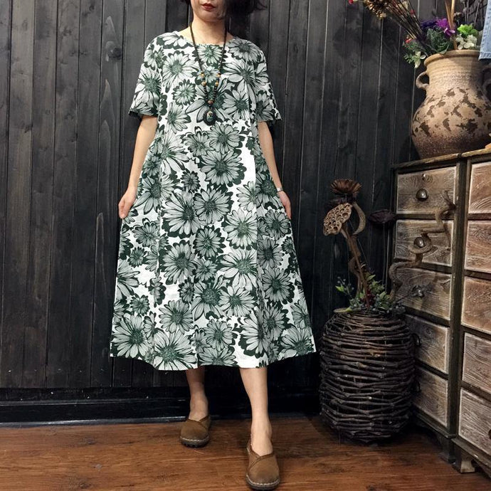 women green prints linen shift dresses Loose fitting linen maxi dress boutique short sleeve o neck cotton clothing
