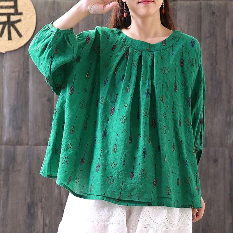 women linen blouses casual Loose Printed Three Quarter Sleeve Round Neck Tops