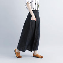 Load image into Gallery viewer, women linen shift dresses oversized Casual Summer Black Pockets Pleated Skirts