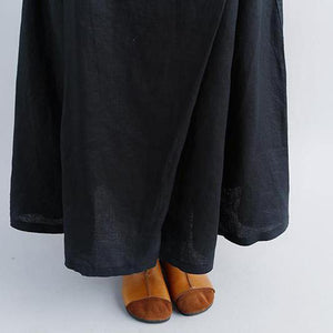 women linen shift dresses oversized Casual Summer Black Pockets Pleated Skirts