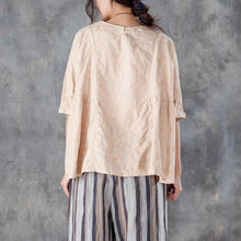 Load image into Gallery viewer, women linen tops oversized Loose Round Neck 12 Sleeve Linen Cotton Beige Tops